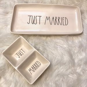 """Rae Dunn """"just married"""" platter and dip dish"""